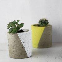 Geo Pastel Concrete Planter, White/Green/Pink