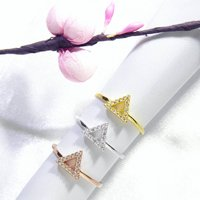 Triangle Band Ring Cz 925 Silver Yellow Rose Gold, Silver