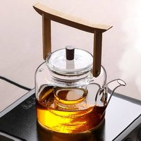 Glass Teapot Kettle With Bamboo Handle