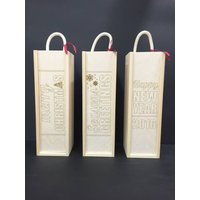 Personalised Laser Etched Christmas Wine Boxes