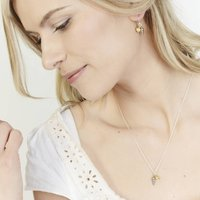 Silver And Golden Seashell Necklace And Earring Set, Silver