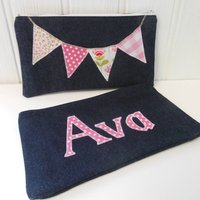 Personalised Pink Bunting Pencil Case, Pink