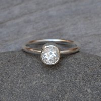 White Topaz Stacking Ring Set In Sterling Silver, Silver