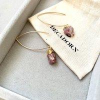Raw Natural Birthstone Dropper Earrings