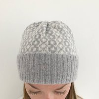 Grey Lambswool Knitted Beanie Hat