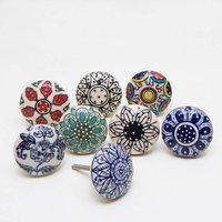 Set Of Eight Ceramic Dessert Flower K Nobs
