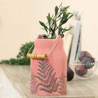 Blossom Pink Fern Ceramic Milk Churn