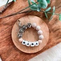 Tan Leopard Mama Wristlet Keychain   New Mum Gift