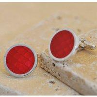 Red Enamel Silver Cufflinks, Silver