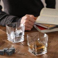 Personalised Ribbed Glass Tumbler Gift Set