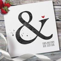 Personalised Watercolour Wedding Card, Black/Purple/Aqua