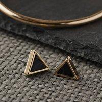 Triangular Gold And Black Howlite Stud Earrings, Gold