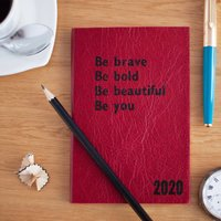 Mindfulness Diary, 2020 Diary In Real Leather, Chocolate/Russet/Red