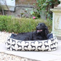 Small Spaniel Dog Bed, Black/Blue/Brown