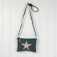 Star Mini Messenger Bag, Black/Grey/Rose Gold