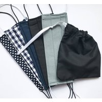 Pack Of Five Face Masks With Draw String Bag