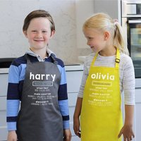 Personalised Child's Favourite Menu Apron, White/Gold/Blue