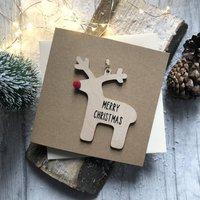 Wooden Reindeer Decoration Christmas Card