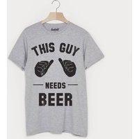 This Guy Needs Beer Men's Slogan T Shirt, Grey/Black/Green