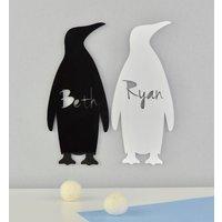 Personalised Monochrome Nursery Sign Penguin Acrylic, White/Black