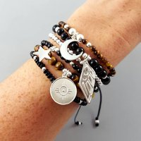 Courage Gemstone And Silver Bracelet Stack, Silver