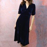 Midnight Blue Silk Velvet Tea Dress