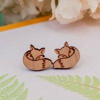 Wooden Fox Stud Earrings