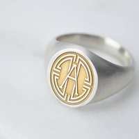 Sterling Silver Medallion Initial Signet Ring, Silver