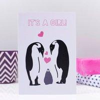 'It's A Girl' Penguin Announcement Card