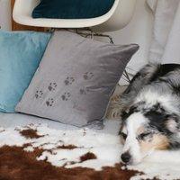 Velvet Pawprint Personalised Cushion