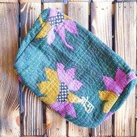 Green Floral Vintage Sari Makeup Bag With Kantha Stitch