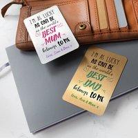 Personalised Best Mum Or Dad Metallic Wallet Metal Card