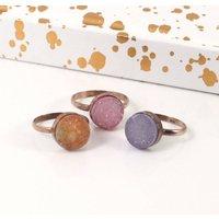 Rose Gold Copper Druzy Circle Stacking Ring, Gold