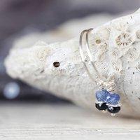 Silver Sapphire Earrings, Silver