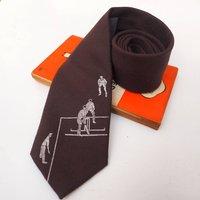 Cricket Print Tie, Chocolate/Brown/Navy Blue