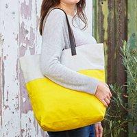 Handmade Shaari Canvas Shoulder Bag, Yellow