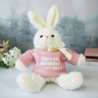 Personalised Bunny Rabbit Gift, Pink/Navy Blue/Navy
