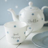 Personalised Stars Bone China Breakfast Set, Blue/Grey/Black