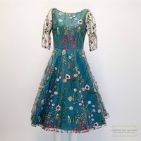 Flora 1950s Inspired Floral Lace Dress