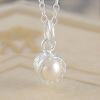 Freshwater White Pearl June Birthstone Silver Necklace, Silver