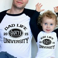 Dad Life/ Kid Life University Matching T Shirt Set