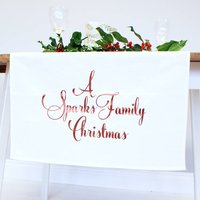 Personalised Family Christmas Table Runner, Copper/Gold/Red