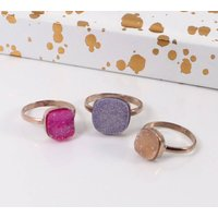 Rose Gold Copper Druzy Square Stacking Ring, Gold