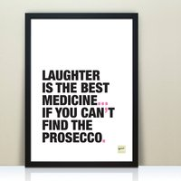 Funny Prosecco Typographic Print, Pink/Red