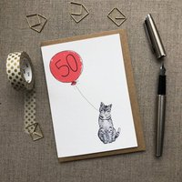 Personalised 50th Birthday Card Cat Design