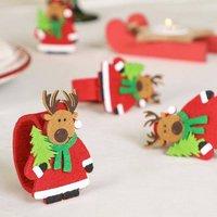 Set Of Four Christmas Reindeer Felt Napkin Rings