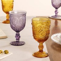Set Of Four Amber And Purple Wine Goblets