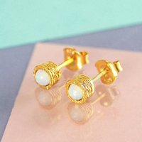 Gold Opal Birthstone Textured Stud Earrings, Gold