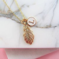 Golden Feather And Initial Necklace Gift For Her, Gold