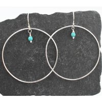 Silver And Turquoise Hoop Earrings, Silver